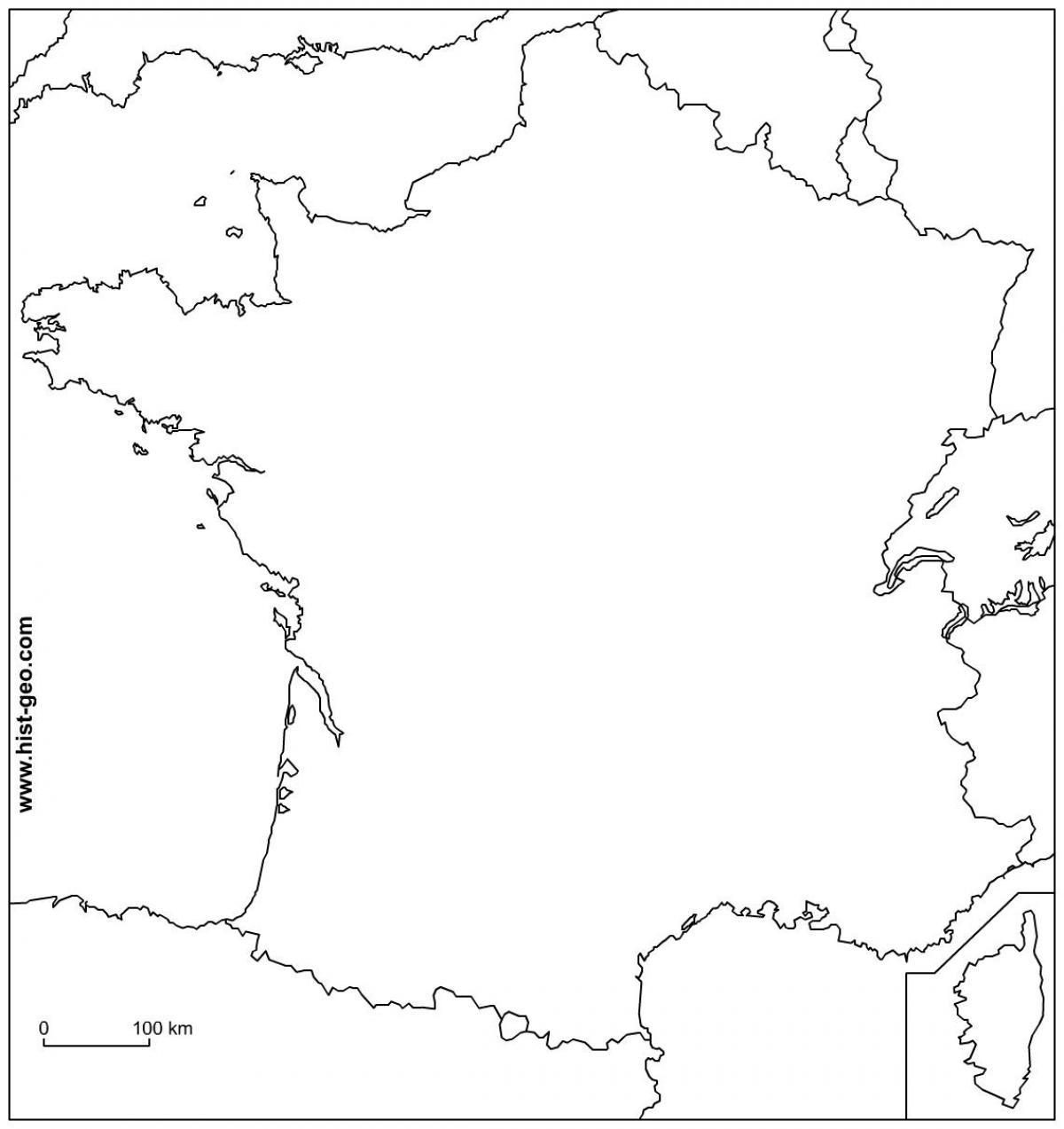Przeglądowa Mapa Francji Do Wydruku Pusta Mapa Konturowa Francji